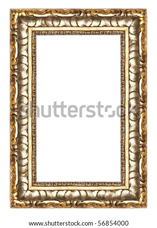 Picture gold frame with a decorative pattern isolated over white - stock photo