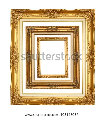 picture golden frame on white background