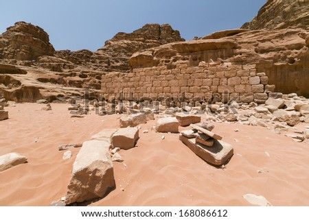 Picture house ruins of famous fighter for arabian rights Lawrance of Arabia, Jordan - stock photo