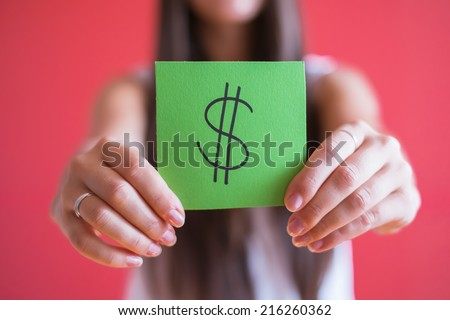 Picture icon dollar sign in his hand - stock photo