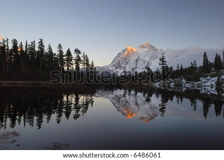 picture lake and mount shuksan at sunset - stock photo