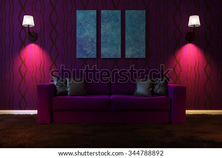 Picture living room with artificial lighting made in dark colors. 3d illustration