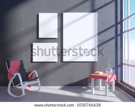 picture mockup wooden frame interior design stock illustration