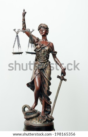 picture o themis, femida or justice goddess sculpture with right hand holding scales on white copy space background  - stock photo