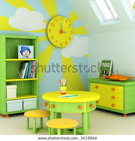 Picture of a baby, design on the wall, picture on the table and book covers are my own images. - stock photo