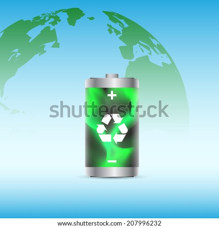 picture of a battery charged with renewable energy with planet earth on background - stock photo