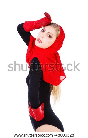 Picture of a beautiful adorable young girl red scarf and gloves