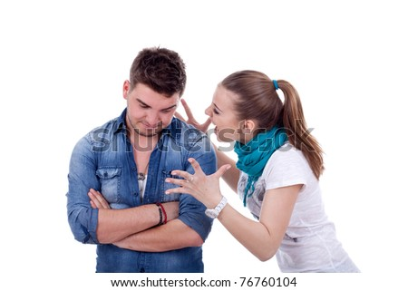 picture of a blonde woman shouting and screaming at her boyfriend - stock photo