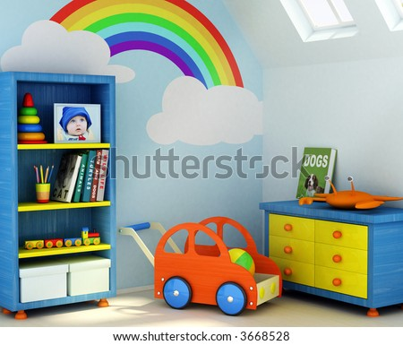 Picture of a boy, book covers, and design on the wall are my own images. 3D rendering of a children room - stock photo
