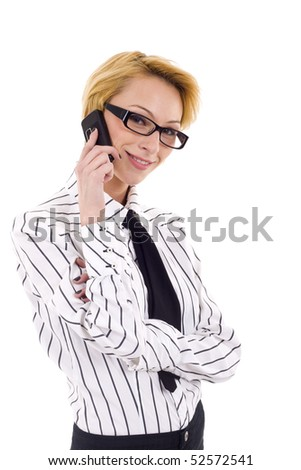 picture of a businesswoman with glasses talking on the phone - stock photo