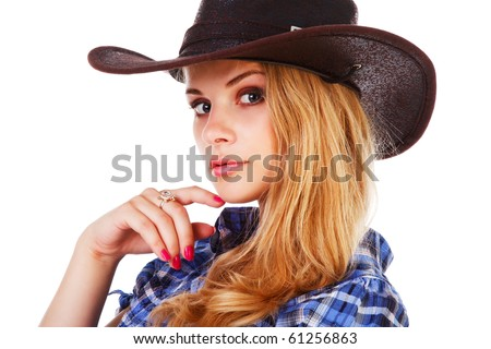Picture of a charming lady in cowboy hat on white background