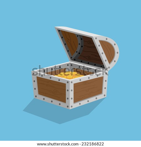 picture of a chest filled with golden coins, flat style illustration