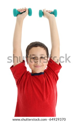 Picture of a child set on white background - stock photo