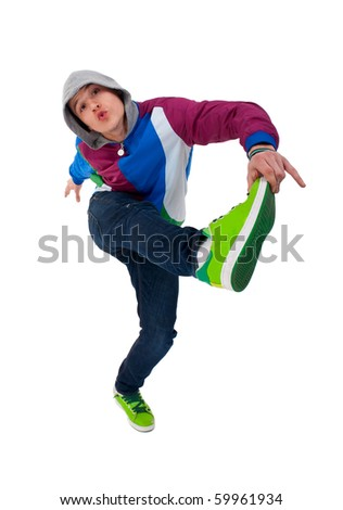 picture of a cool dancer holding one leg with his hand - stock photo