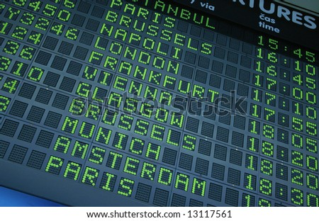 Picture of a departure information board at the airport - stock photo