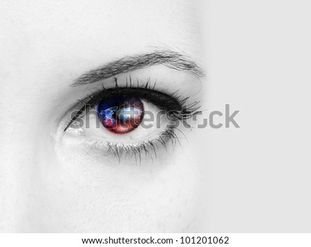 Picture of a female human eye in colour - stock photo