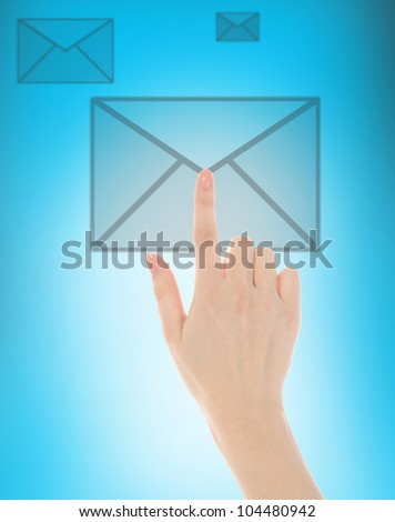 picture of a finger presses the button - stock photo