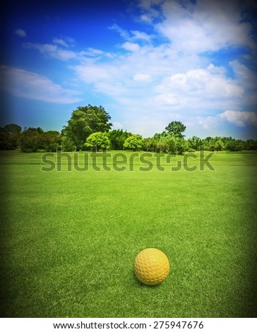 Picture of a golf field with natural background. - stock photo