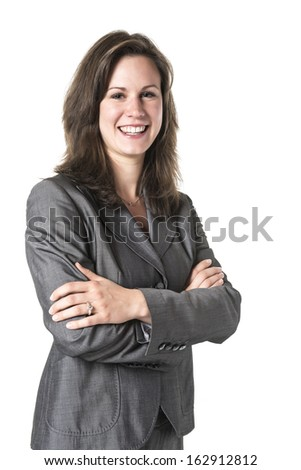 Picture of a laughing business woman with crossed arms in a gray suit isolated on white background - stock photo
