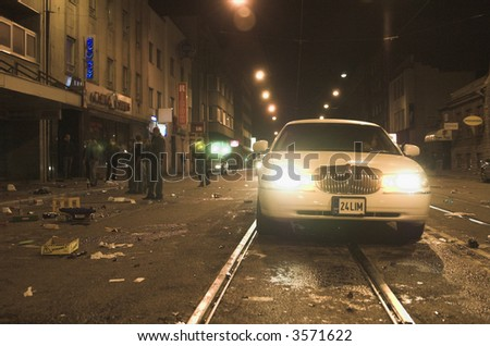Picture of a limousine taken in Tallinn durung the spring 2007  riots. - stock photo