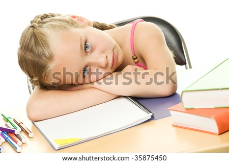 Picture of a little schoolgirl - stock photo