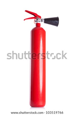 picture of a long red fire extinguisher on white background