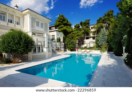 Picture of a luxury villa with swimming pool - stock photo