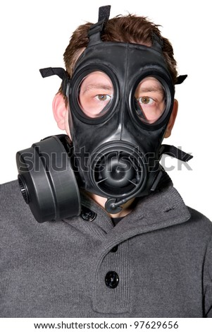 Picture of a man with gasmask and a sweater on a white background