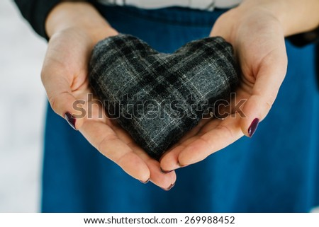 Picture of a small  heart in hands, female holds handmade sewn soft toy, woman with Valentine gift against the window, happy girl smiling, conceptual image of health care or love.
