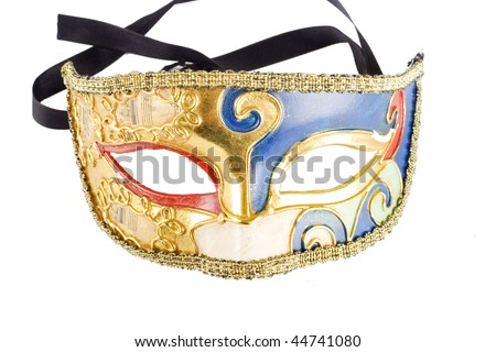 picture of a venetian carnival mask isolated on white - stock photo