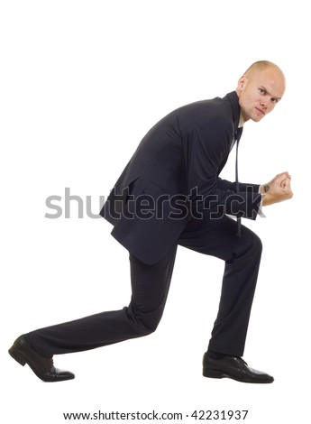 picture of a very happy businessman winning over white background