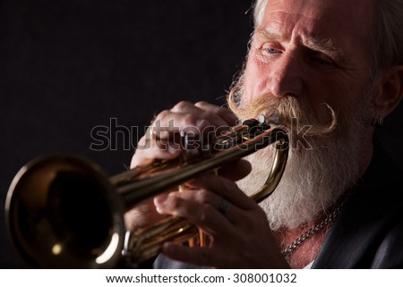 PIcture of a white haired trumpet player with a long white beard.Front picture with side light.