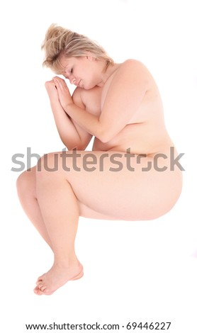 Picture of a worry overweight woman on a white background. - stock photo