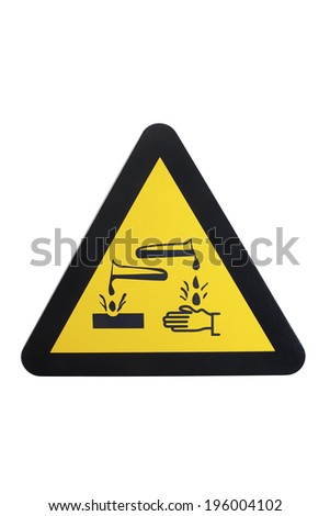 Picture of a yellow and black warning sign. Warning of etching. - stock photo