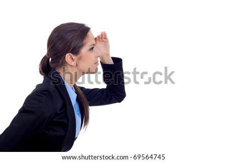 picture of a young business woman looking forward over white - stock photo