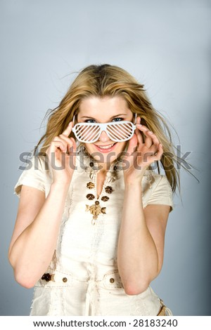 picture of a young cute girl in a sunglasses