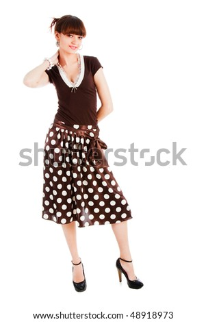 Picture of a young  sensuality  beautiful girl in blouse and spotted skirt. Isolate on white. - stock photo