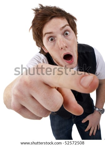 picture of a young shocked  Man Pointing over white - stock photo