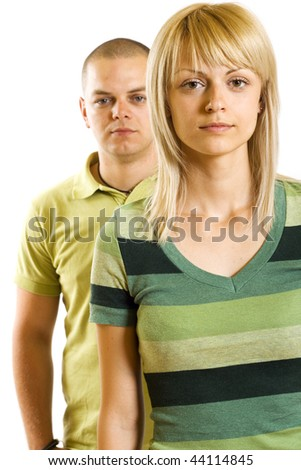 picture of a young unhappy couple on white background