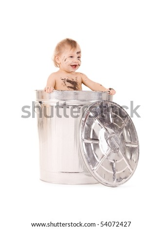 picture of adorable baby in trash can - stock photo