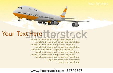 picture of airplane on the yellow background