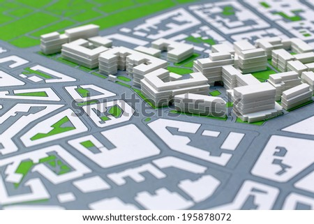 Picture of an Achitectur Plan, Hand Made of a District. - stock photo