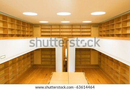 Picture of an empty library at a modern university - stock photo