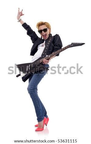 picture of an energic blond girl wearing glasses and playing a guitar - stock photo