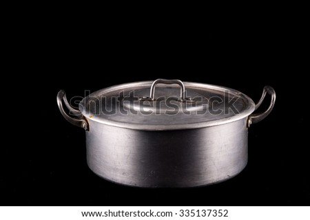 Picture of an Old Vintage Aluminium Pot - stock photo