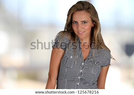 Picture of and adult woman in her home - stock photo