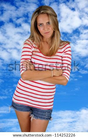 Picture of and adult woman outside in nature - stock photo