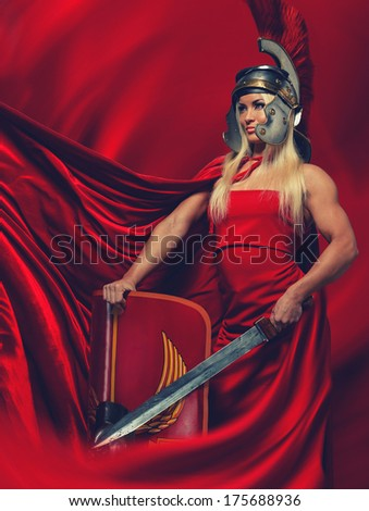 Picture of Athena.The goddess of wisdom, especially strategic warfare. - stock photo