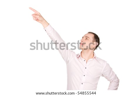 picture of attractive businessman pointing his finger