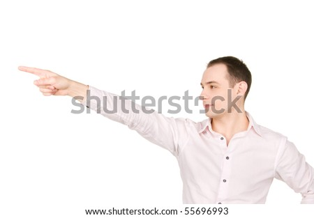 picture of attractive businessman pointing his finger - stock photo